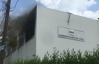 Gazimağusa'da okulda yangın