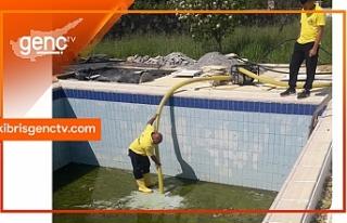 Lapta Belediyesi'nden kirli bırakılan havuzlar...