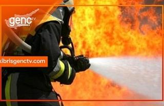 Lefkoşa Terminal bölgesindeki bir ev yanıyor