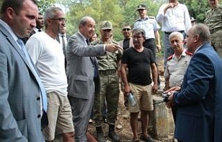 Başbakan Tatar, Ciklos'taki yangın bölgesinde...