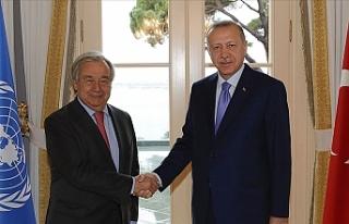 Erdoğan, BM Genel Sekreteri Guterres'i kabul...