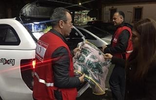 Mültecilere gıda ve battaniye yardımı