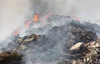 İskele'de çöplükte yangın