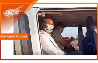 Tatar, helikopter ile bölgeyi inceliyor