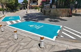 Girne'de engelli park yerleri yenilendi