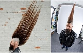 108 santimlik saçıyla Guinness'e girdi