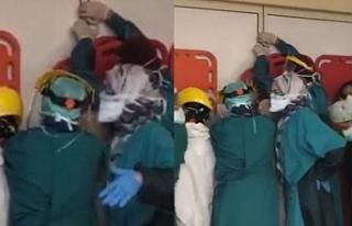 Ankara'da hasta yakınlarından sağlıkçılara...