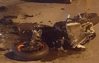 Motosiklet sürücüsü Oğuzhan Gül, olay yerinde...