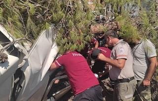 Direksiyon hakimiyetini kaybeden araç ağaca çarptı...1...