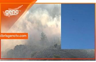 Dağlık alanda çıkan yangına 3 hava aracıyla destek