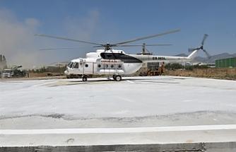 """Oğuz: """"Tarihi bir gün. Moral ve güç verdi""""...Helikopter Lefkoşa'da Orman Dairesi'ne ait arazide helikopter pistinde konuşlandırıldı"""