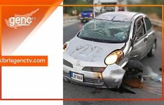 Aracı ile takla atan sürücü yaralandı