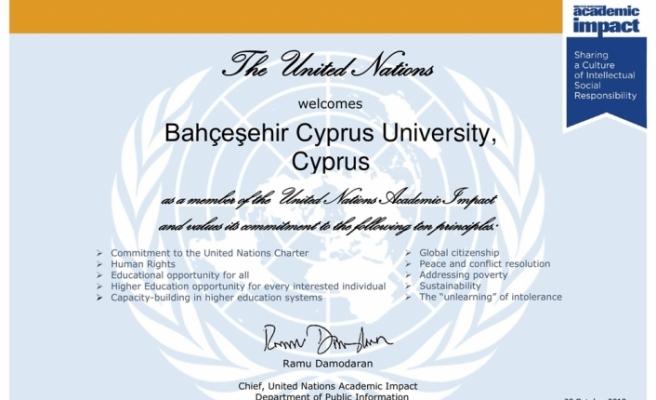 """Bahçeşehir Kıbrıs Üniversitesi """"United Nations Academic Impact"""" üyesi oldu"""