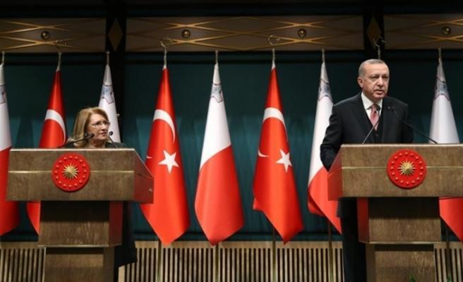 Cumhurbaşkanı Erdoğan ile Preca ortak açıklama yaptı