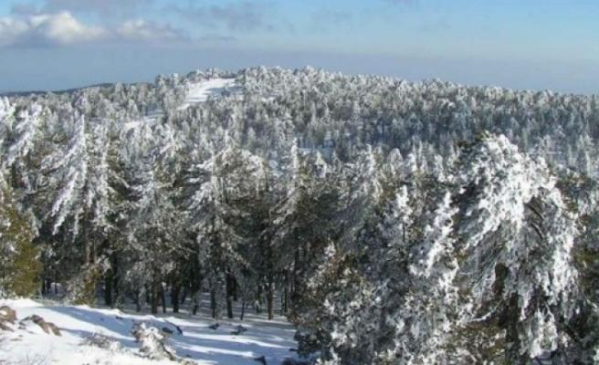 Trodos'ta kar kalınlığı 35 cm'e ulaştı