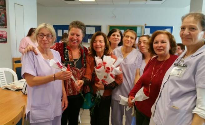 Türk ve  Rum sendikaların temsilcilerinden , Lefkoşa Genel Hastanesi'ne ziyaret