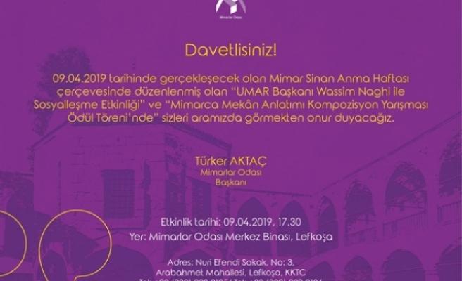 """""""9 Nisan Mimar Sinan'ı Anma ve Mimarlar Günü"""" nedeniyle yarın etkinlik düzenliyor"""