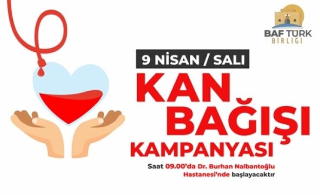 Baf Türk Birliği, kan bağışı kampanyası düzenleyecek