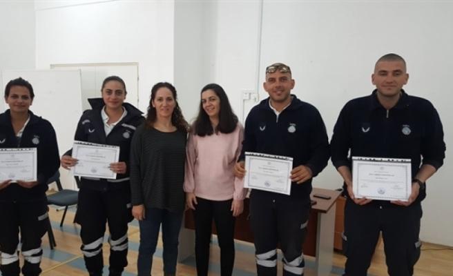 Girne Belediyesi Zabıta Kolluk Birimi'nde görev yapanlar, ilk yardım kurslarına katıldı