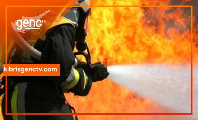 Girne'de  kamyonette yangın