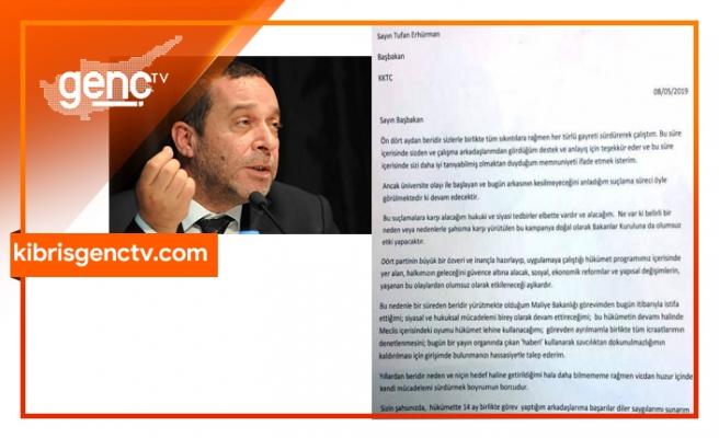 İşte Denktaş'ın istifa mektubu