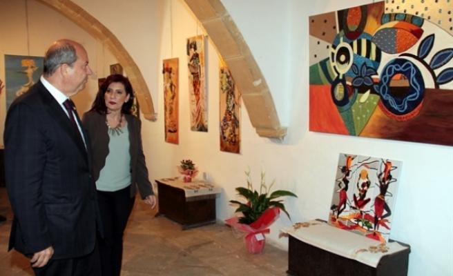 Tatar, Sütçüoğlu'nun el işi sergisini açtı