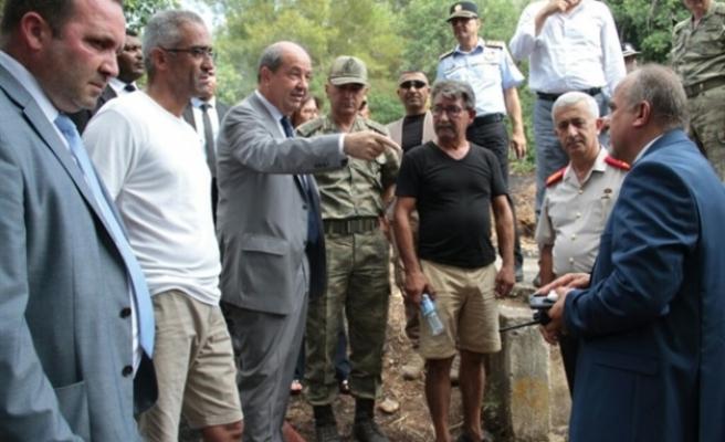 Başbakan Tatar, Ciklos'taki yangın bölgesinde incelemelerde bulundu