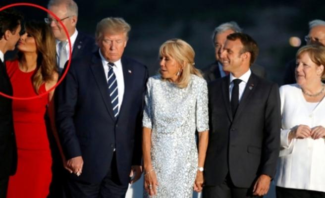 ABD Başkanı Trump'ın eşi Melania'nın, Kanada Başbakanı ile öpüşmesi