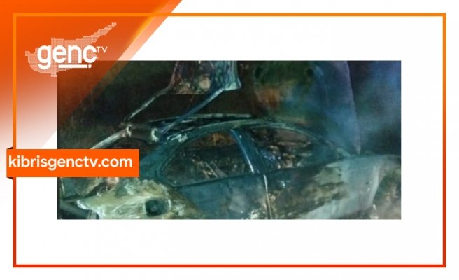 Güzelyurt- Lefkoşa Anayolu'nda araç yangını...  Yanarak kullanılmaz hale geldi
