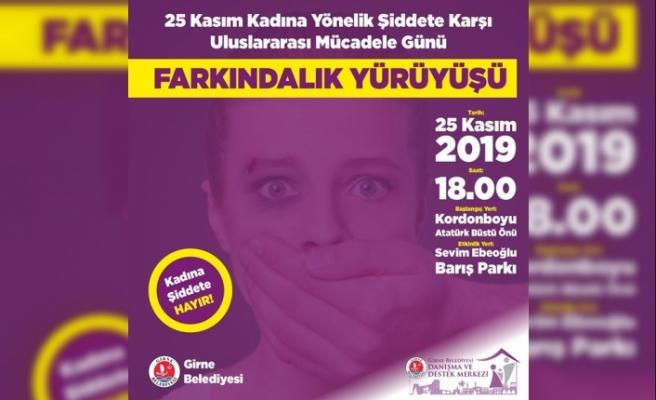 Girne'de farkındalık yürüyüşü