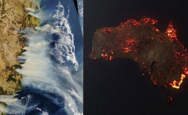 NASA'dan Avustralya görüntüsü: Kıta yanıyor