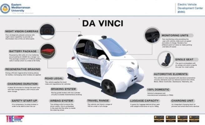 """DAÜ'nün tasarlayp üretiği tamamen yerli """"da vıncı"""" elektrikli aracı tanıtıldı"""