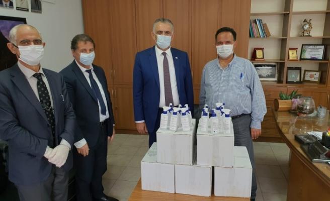 El ve cilt dezenfektanları hastaneye teslim edildi