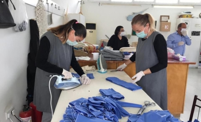 Merkezi Cezaevi'nde maske üretimi