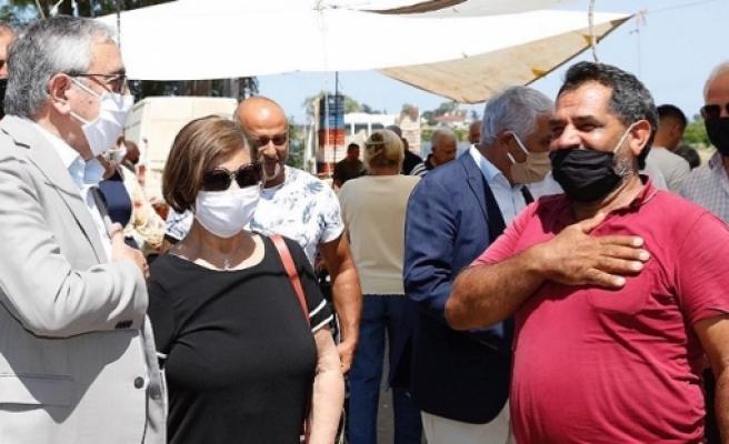 Akıncı, Güzelyurt açık pazarında esnaf ve yurttaşlarla buluştu