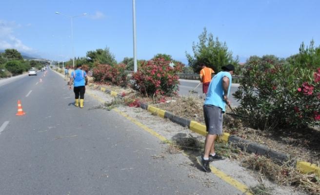 Girne batı çevre yolunda temizlik çalışmaları devam ediyor