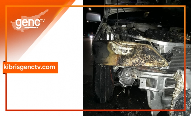 Lefkoşa'da yolda giden araçta yangın