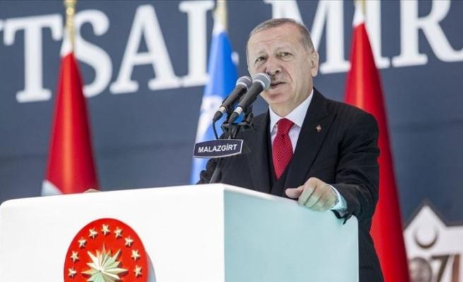 """Erdoğan: """"Biz nasıl kimsenin toprağına göz dikmiyorsak, bize ait olanlardan da taviz vermeyeceğiz"""""""