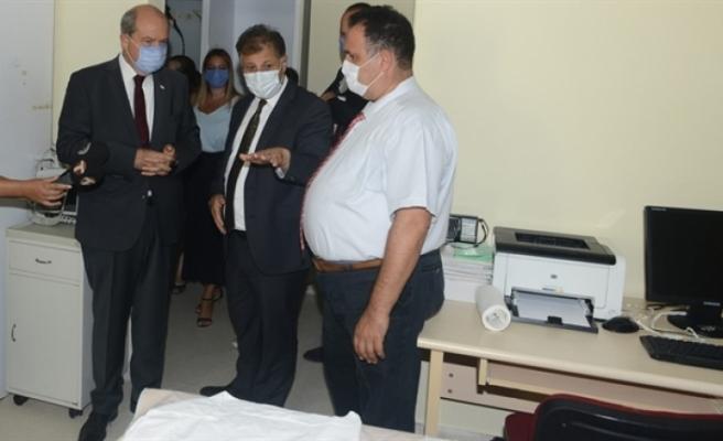 Pilli, Lefkoşa Burhan Nalbantoğlu Devlet Hastanesi'nde incelemelerde bulundu