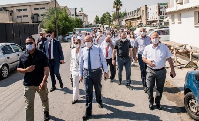 Tatar, bugün Lefkoşa Organize Sanayi Bölgesi'nde incelemelerde bulundu