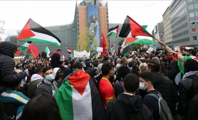 Brüksel'de Filistin'e dayanışma