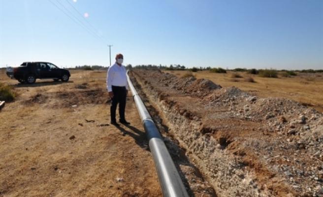 Yeni Ercan'a  boru hatları ve aksamlarının döşenmesine başlandı