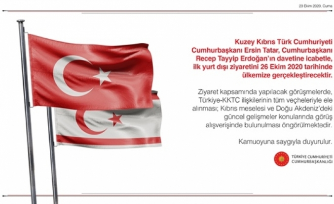 Cumhurbaşkanı Tatar, ilk yurt dışı ziyaretini 26 Ekim'de Türkiye'ye gerçekleştirecek